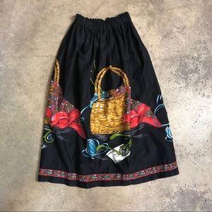 Vintage Handmade Knitting Basket Novelty MCM Skirt